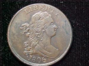 1806 C4 large 6, stems uncertified AU50 $850.00